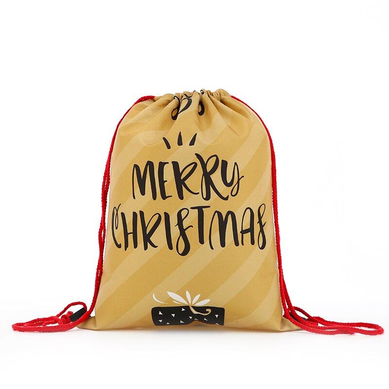 Backpack Bags Fashion Women Mini Drawstring Christmas Backpack Printing Letter Travel Softback Bags Men Drawstring Bag Female
