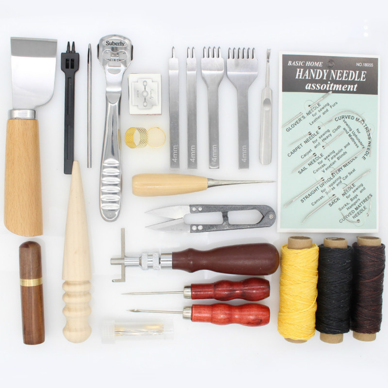 Image 2 - Professional Leather Craft Hand Stitching Sewing Tool Kit Skiving  Sewing Tool Set Thread Awl Waxed Tweezers Thimble GrooverLeathercraft  Tool Sets