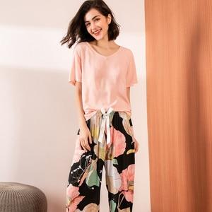 Image 3 - Summer Pajamas Set Women Comfortable Cotton Viscose Contrasting Color Pajamas Short Sleeve Tops with Long Trousers Ladies Pj Set