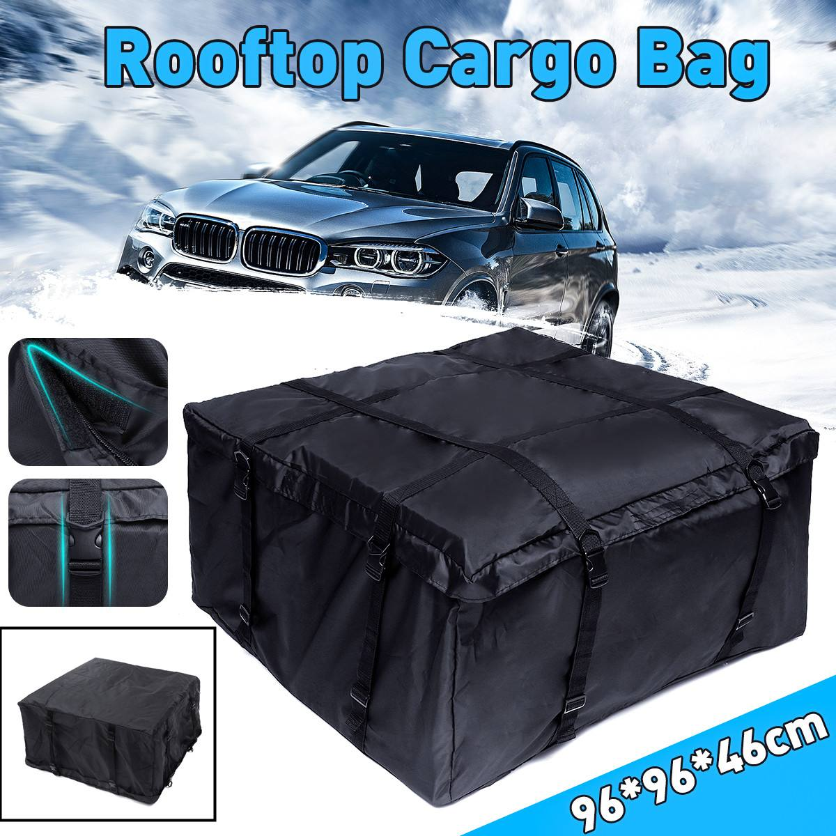 96X96X46cm Car Roof Rack Bag Roof Top Bag Rack Cargo Carrier Luggage Storage Travel Waterproof SUV Van for Cars image
