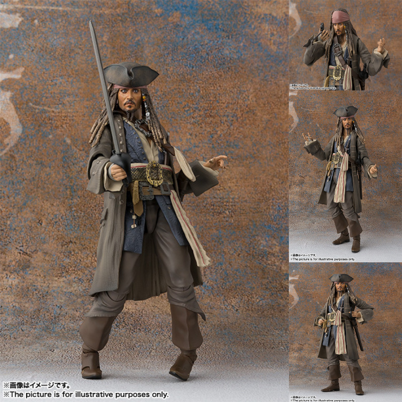 SHF Pirates Of The Caribbean Dead Men Tell No Tales Captain Jack Sparrow BJD Action Figure Salazar Revenge Anime PVC Model Toy