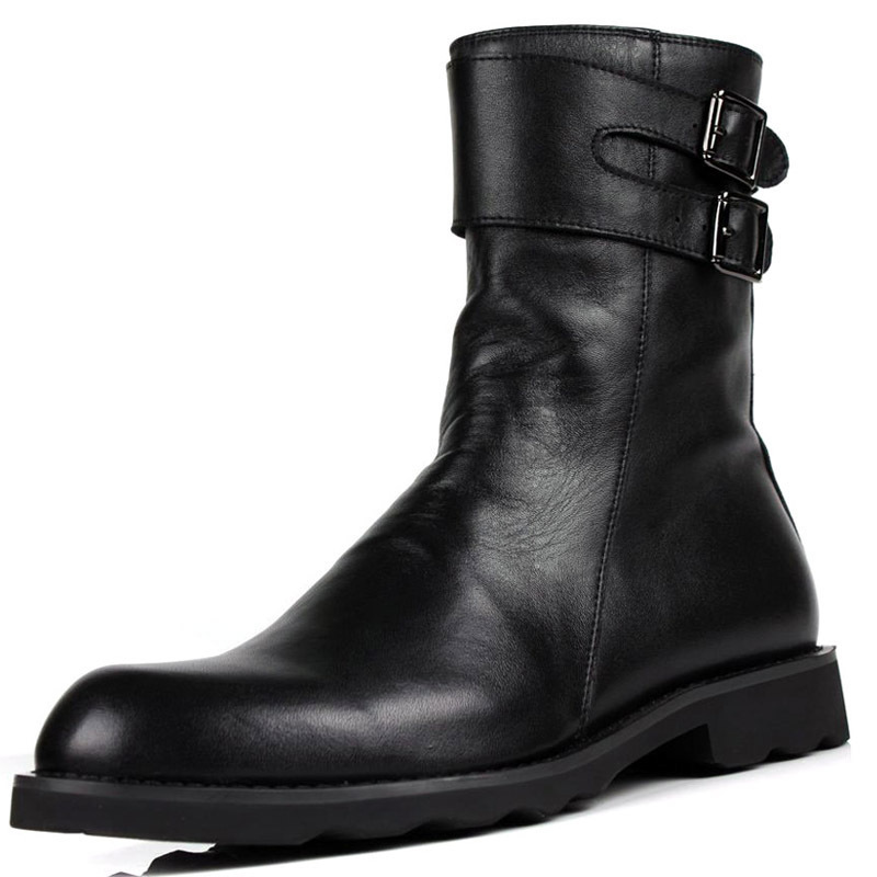 Personality Buckle Design Mens Punk Motorcycle Boots Luxury Genuine Leather Flats Shoes Male High Top Casual Zip  Boots