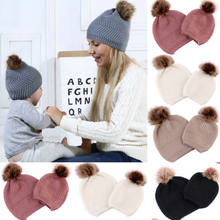2019 Mother Kids Hat Baby Boys Girls Warm Winter Knit Beanie Fur Pom Hat Crochet Ski Cap oft Beanie Comfortable Cap(China)