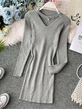 NiceMix Vintage Hollow Out Gray Red Black Women Knit Dress Elegant 2019 Fall Winter O Neck Long Sleeve Mini Dress Casual Bodycon stylish plunging neck long sleeve gray knit women s bodycon dress