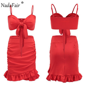 Image 5 - Nadafair Two Pieces Set Women Ruffles Bow Casual Beach Summer Dress Red Off Shoulder Sexy Club Bodycon Wrap Mini Party Dress