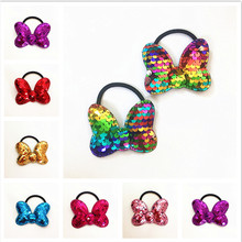 Children's Bow Hair Band popular can flipped color Fish Scale elasticity Hair circle multi-layer sequin Hair Accessories 2pcs