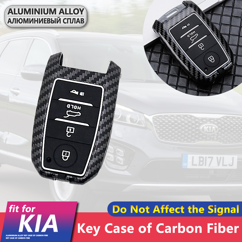 Metal Carbon Fiber Car Key Cover Case Shell 4 Buttons for Kia Sorento Rio Optima Sportage Cerato K2 K3 K5 KX3 KX5 2015 2016 2017 image