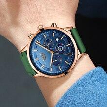 LIGE New Silicone Wristwatch Quartz Sport Business Luxury Chronograph Moon Phase