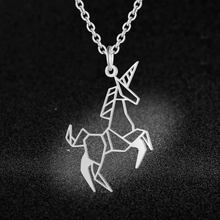 100% Real Stainless Steel Unicorn Necklace Special Gift Italy Design Trend Jewelry Necklaces Unique Animal Jewelry Necklace(China)
