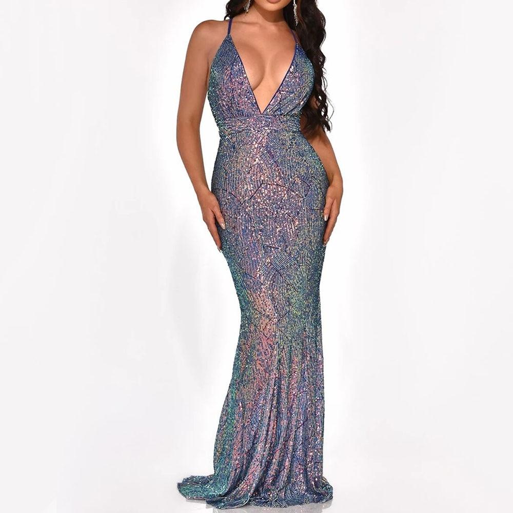 Blue Sequins Mermaid Long Dress Sexy V Neck Backless Women Evening Party Dress Summer Spaghetti Strap Prom Shiny Robe De Soiree