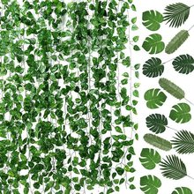 Garland and 24 Pieces Artificial Palm Leaves for Home Wall G
