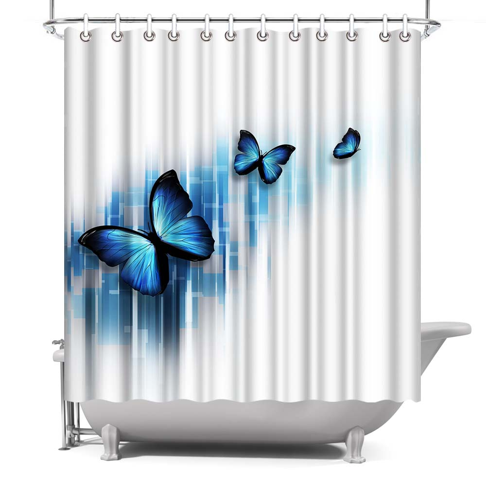 Blue Butterfly Garden Decorative Bathroom Shower Curtain with Rings