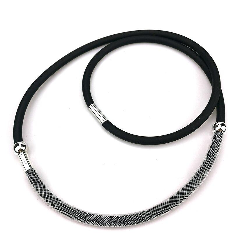 UKEBAY New Rubber Torques Women Short Choker Necklaces Mesh Jewelry Bead Accessories Simple Handmade Necklace Body Jewellery