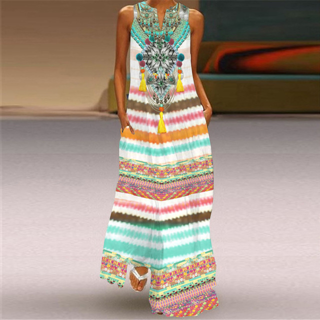 WAYOFLOVE Tiger Printed Dress 2021 Vintage V Neck Casual Breathable Long Dresses Summer Woman Sleeveless Beach Maxi Dress Women 6