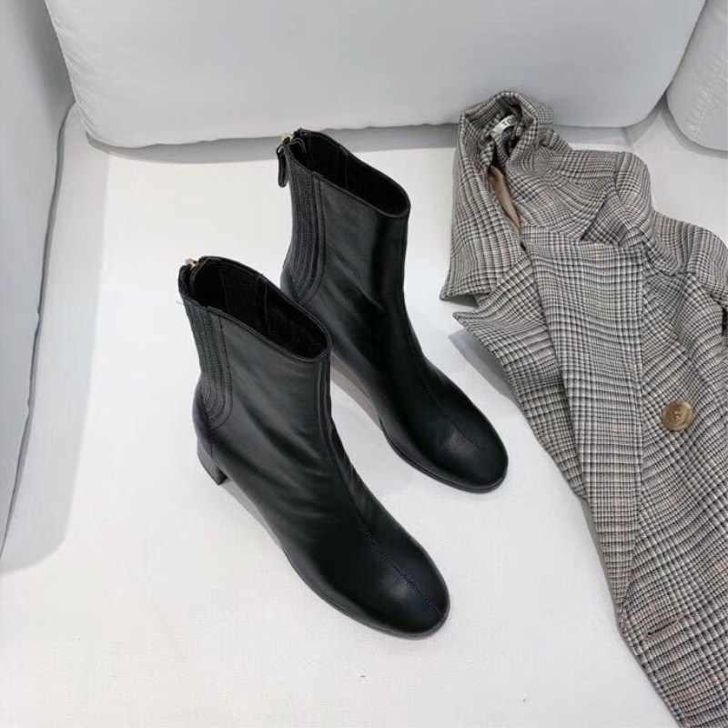 Hakiki Deri Yüksek Ile kısa çizmeler Kadın Çizmeler Yüksek kadın ayakkabısı