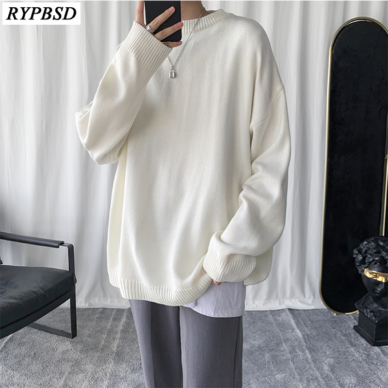 Cashmere Sweater Men Pullovers Oversize Solid Color Korean Fashion Casual High Quality Loose Warm O-Neck Knitted Men Sweater XXL