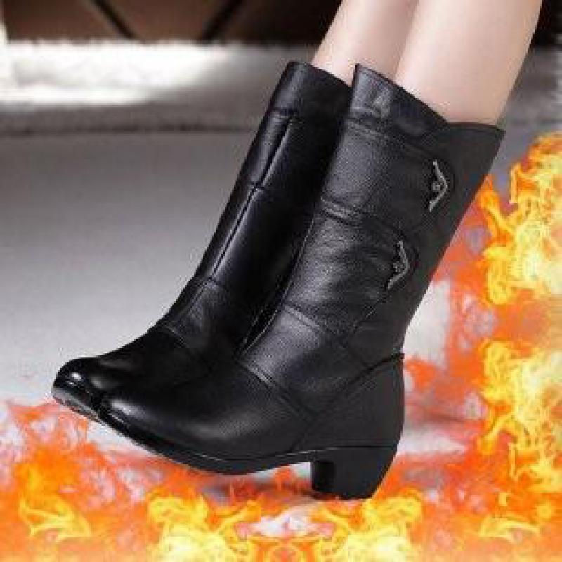 Bottes de neige en cuir pour femme, chaussures hautes, fermeture éclair, en peluche, chaudes, mi mollet, hiver