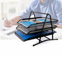 Durable File Tray A4 Document Holder A4 Copy Paper Tray 3 layers Assembled Metal Mesh Basket Metallic Lacquer