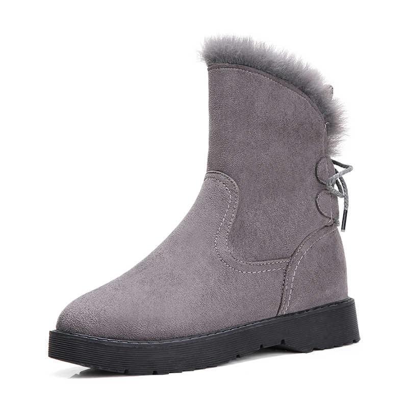 STQ kadın kış peluş kar botları ayakkabı sıcak bayanlar tutmak ayak bileği Sneakers çizmeler ayakkabı kadın kürk kadınlar üzerinde kayma kış çizmeler K8
