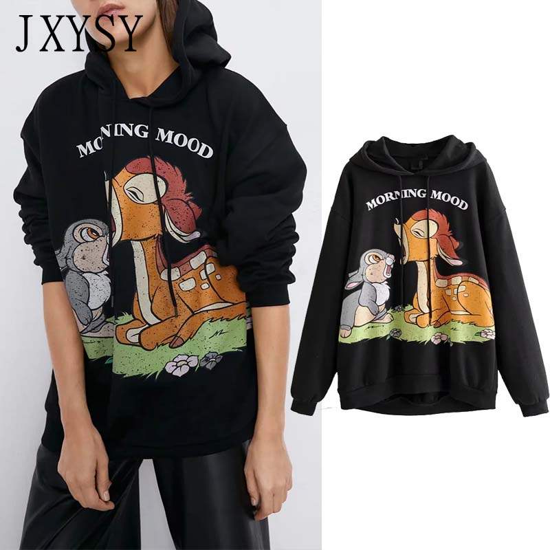 JXYSY 2019 Autumn Winter Hoodies Women Sweatshirt High Street Vintage Cartoon Animal Print Hooded Sweatshirt Women Tops image