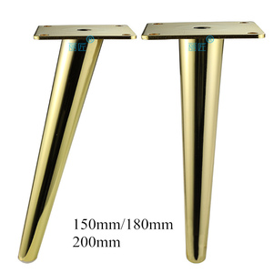 Image 1 - 4 stücke Metall Möbel Beine Gold Vertikale/Geneigt Rohr Sofa Füße für TV Schrank Schrank Füße Unterstützung Möbel Zubehör