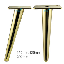 4pcs מתכת ריהוט רגליים זהב אנכי/נוטה צינור ספה רגליים עבור טלוויזיה קבינט קבינט רגליים תמיכה ריהוט אבזרים