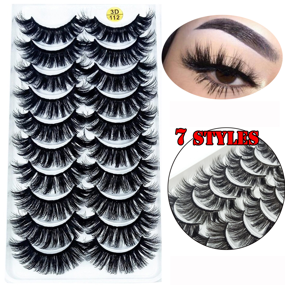 LEKGAVD 8/10 Pairs 3D Mink Hair False Lashes Thick Wispies Natural Mink Eyelashes Extension Messy Handmade Cruelty-free Eyelash