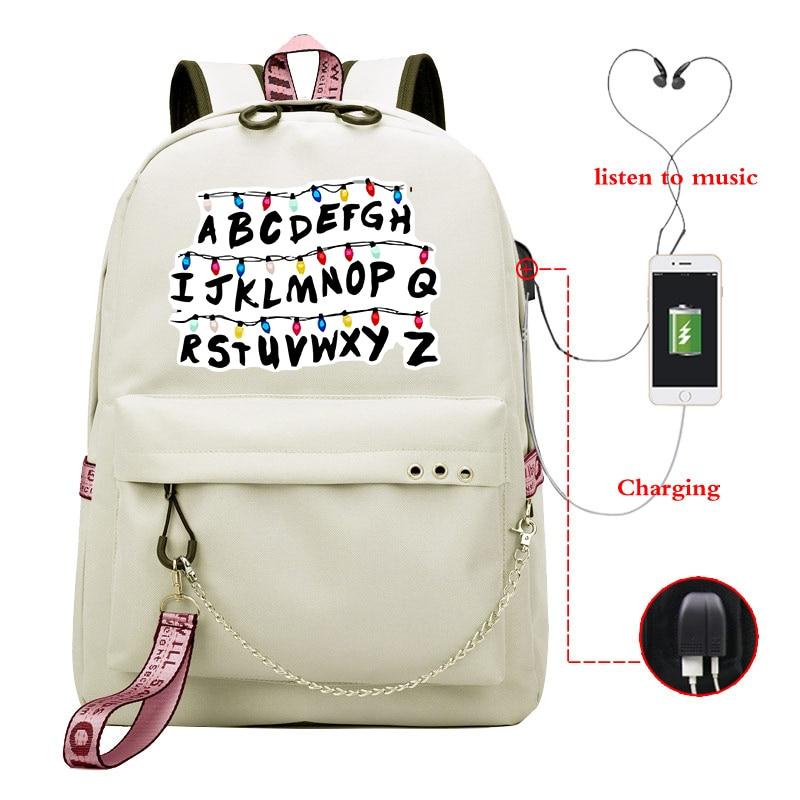 Stranger Things Printed Bookbag For Teenage Mochila Bag Letters Design Plecak Laptop Backpack Travel School Bags Mochila Mujer