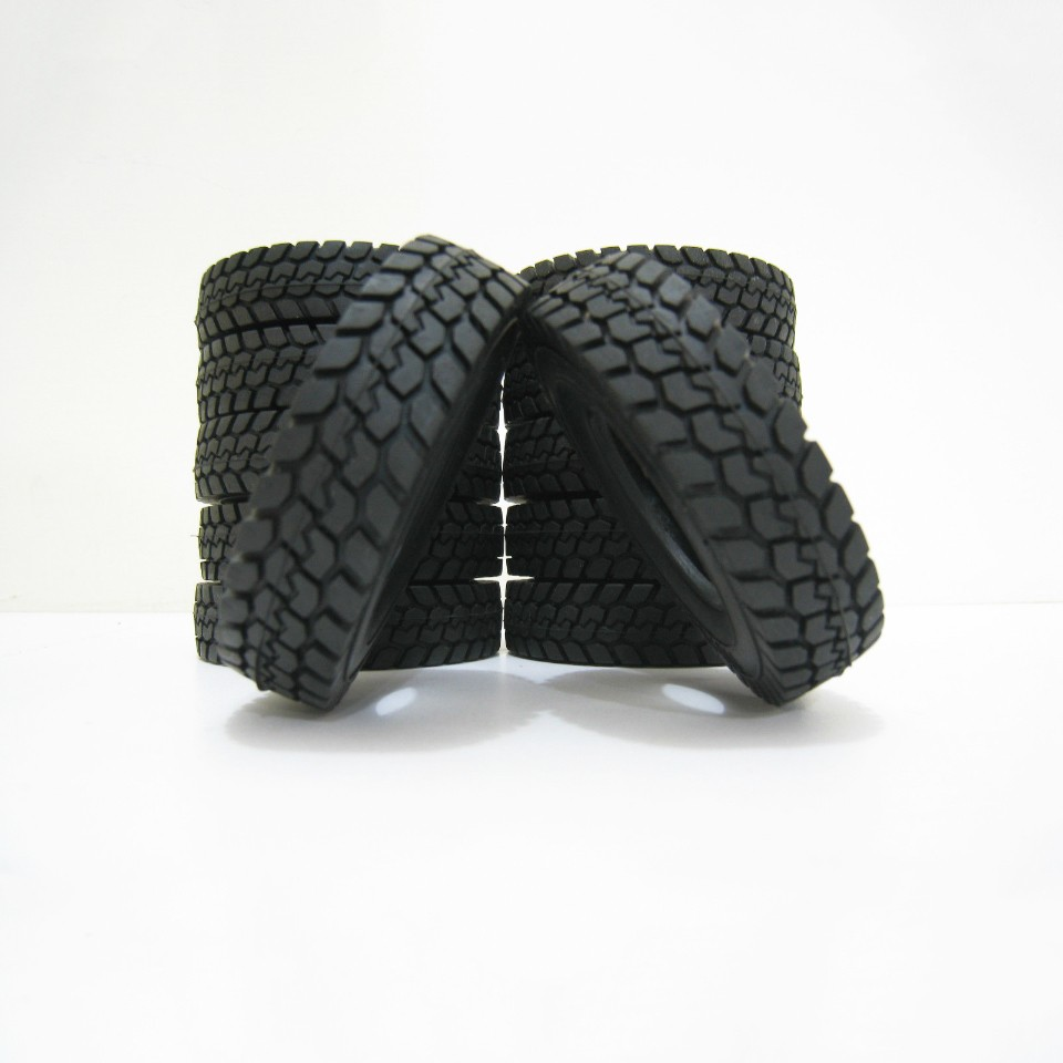 4 pcs Set 1:14 Tractor Truck Trailer Climbing Car Rubber Tires Tyres for Tamiya