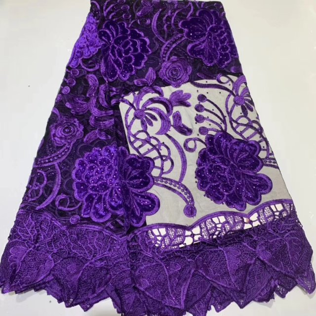 2019 New High Quality Applique Flower Lace Fabric For Sewing, Embroidery African Nigerian Lace Fabrics With Stones 5yrds