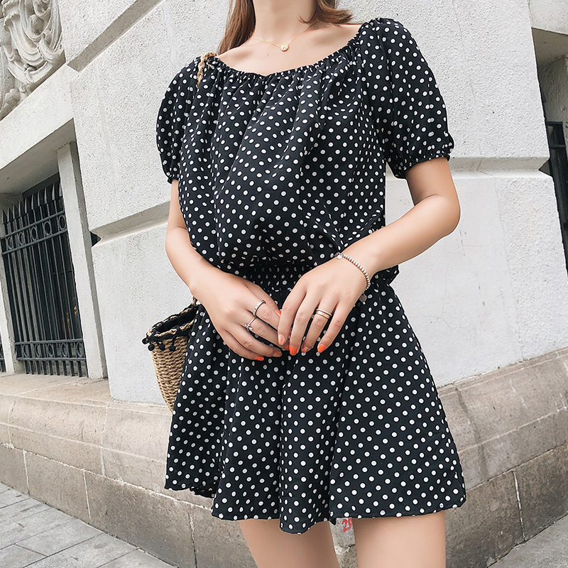 [Dowisi] WOMEN'S Suit Summer 2018 New Style Korean-style Polka Dot Tops Shorts Two-Piece Women's F6541
