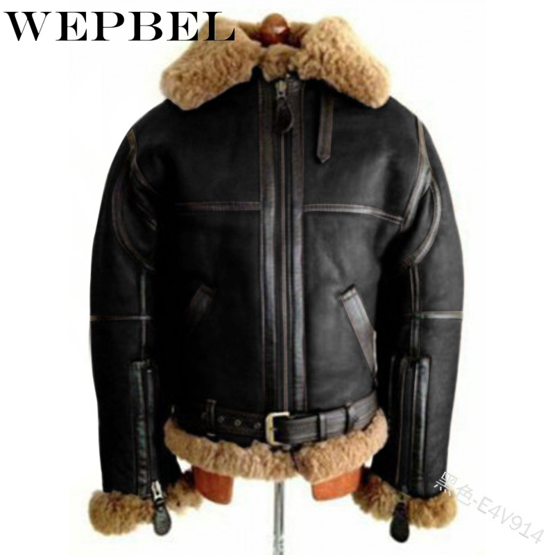 WEPBEL Winter Fashion Solid Color Stitching Zipper Plush Coat Men's Casual Long Sleeve Pocket Turn-down Collar Warm Coat