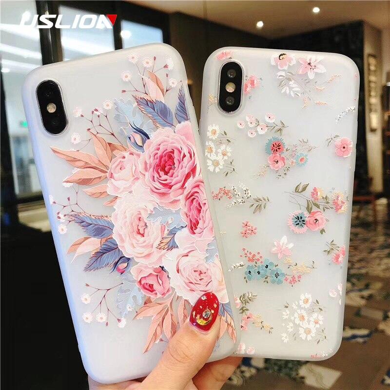 Capinha de celular USLION com flores, capinha de silicone para iPhone 7 8 6 6S Plus XS Max XR capinha floral com rosas para iPhone 11 Pro Max X 5 SE capinha de TPU macio