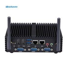 Qotom мини-ПК Core i3 i5 процессор Dual LAN 4 COM Порты безвентиляторный мини промышленного ПК X86