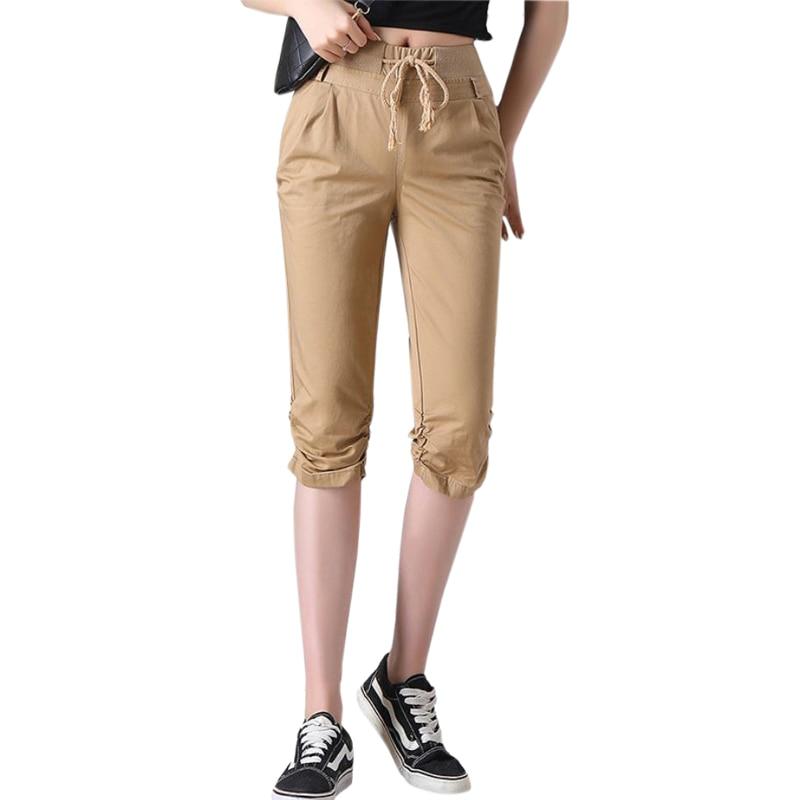 Women's 2019 Summer Pants Cotton Loose Pants Trousers Three Quarter Elasticated Waist Capri Cropped Pants khaki Army Green
