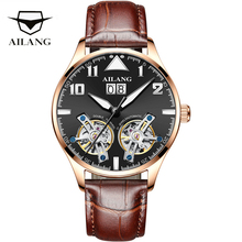 AILANG Double Tourbillon Mechanical Watch Men Business Top Brand Luxury Automatic Watch Waterproof Casual Skeleton Male Clock