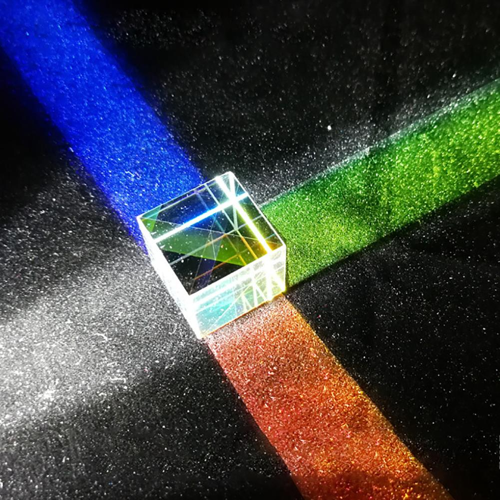 Optical Prism Lens Six-Sided Bright Light Cube Stained Glass Prism Beam Splitting Prism Optical Experiment Instrument