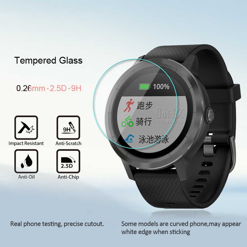 HD Scratch-resistant Tempered Glass 9H 2.5D Premium Screen Protector Film For Garmin Vivoactive 3 Watch Tempered Glass Film