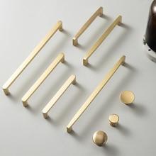 MECANS Modern Gold Knob Pure Copper Kitchen Cabinet Handles Cupboard Door Pulls Drawer Knobs Brass Furniture Handle Hardware