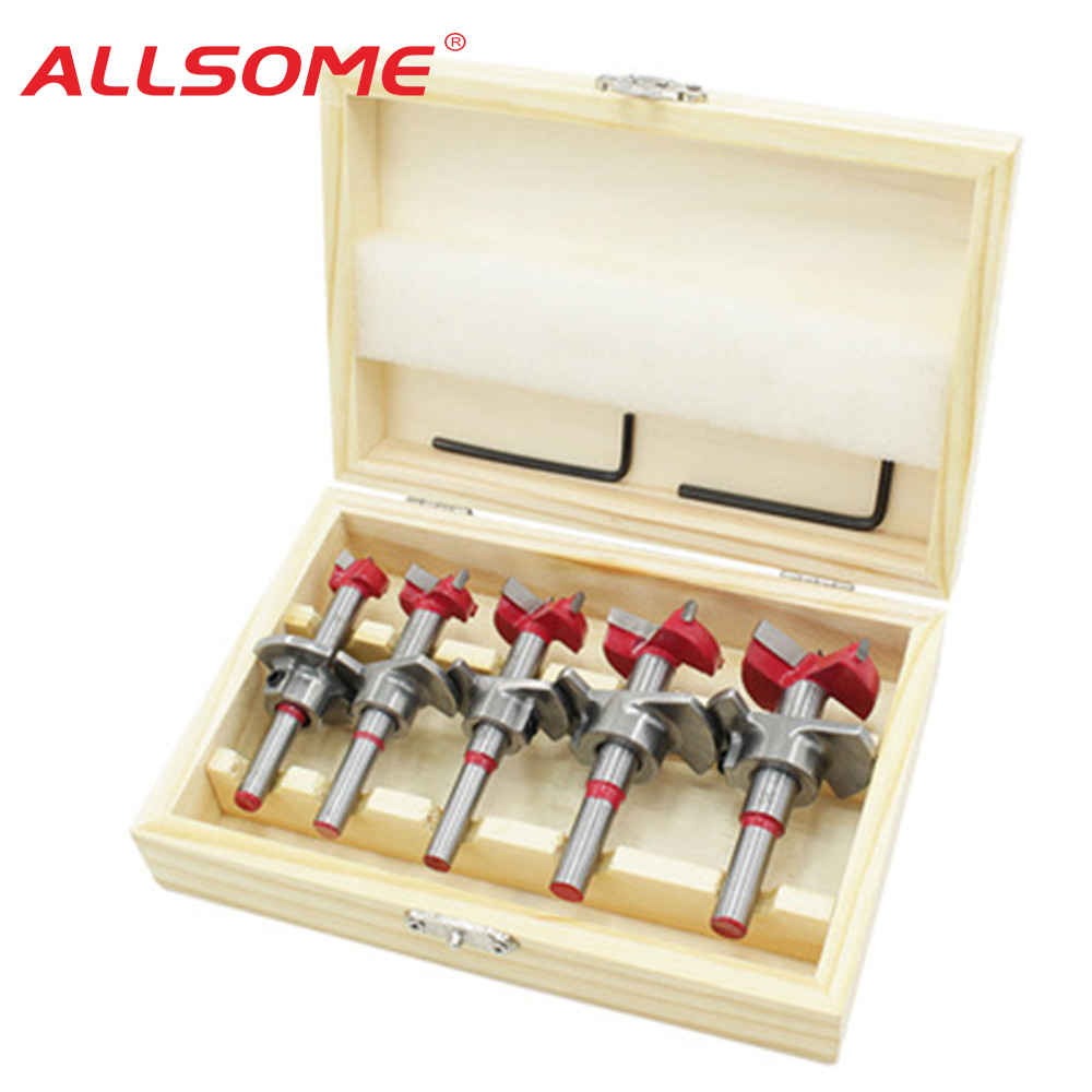 ALLSOME Drillpro 5Pcs Forstner Drill Bit Set 15 20 25 30 35mm Wood Auger Cutter Hex Wrench Woodworking Hole Saw For Power Tools