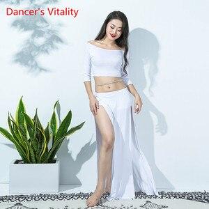 Image 2 - New Women Bellydance Costume 2 Piece Set White Sexy Long Sleeve Oriental Dance Performance Show WearModal Blouse Side Slit Skirt