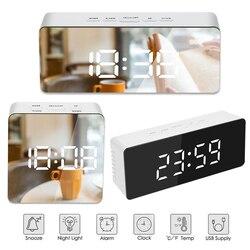 Светодиодный зеркальный будильник часы с диммером функция повтора температуры для спальни офиса путешествия цифровое украшение для дома ч...