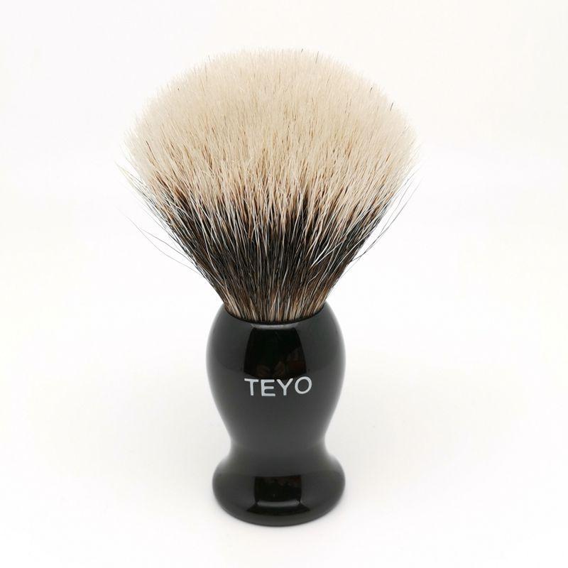 TEYO Shaving Brush of Two Band Silvertip Finest Badger Hair Perfect  for Wet Shave Cream Beard Brush
