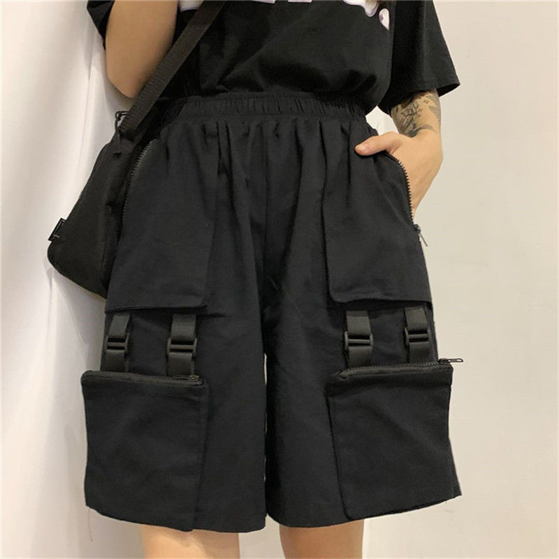 NiceMix Harajuku Cargo Trousers Black Above Knee Length Shorts High Waist Loose Casual Wide Leg Bike Shorts Black  Jogger Female