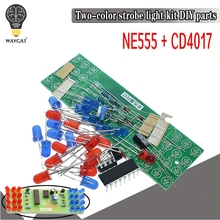 Red Blue Double Color Flashing Lights DIY Kit Strobe NE555 + CD4017 Electronic P