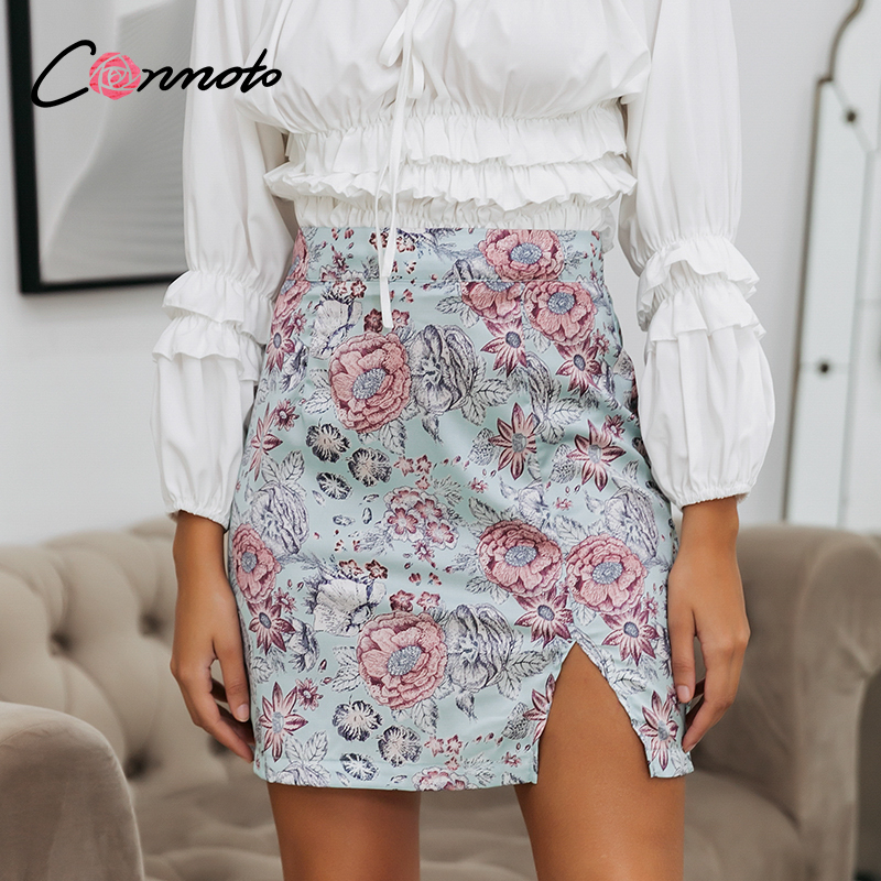 Conmoto Boho Summer 2020 High Waist Mini Skirts Women Sexy Floral Retro Pencil Skirts Zipper Blue Feminino Satin Slit Skirts