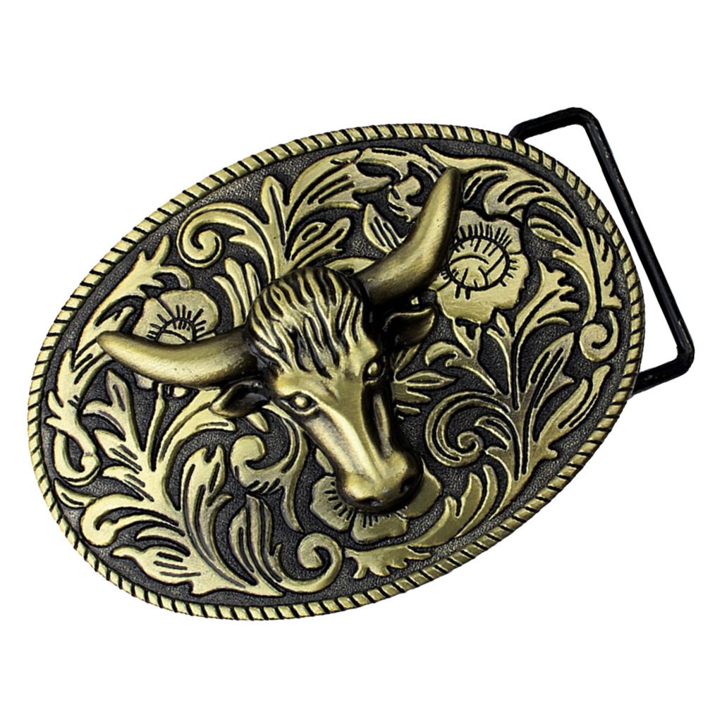 Longhorn Arabesque Floral Belt Buckle Animal Western Cowboy Cowgirl Bronze For Men Boy