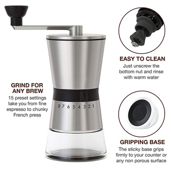 Easy Clean Kitchen Eco Friendly Home Portable Hand Crank Coffee Grinder Large Capacity Adjustable Stainless Steel Manual 4