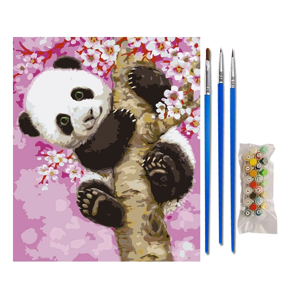 DIY Filling Oil Canvas Paint By Number Multi-Colored Panda Animals Painting