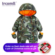 Ircomll 2019 Newborn Baby Rompers Winter Thick warm Kid Baby Girls Boys Infant Clothing Camo Flower Hooded Jumpsuit Kids Outwear